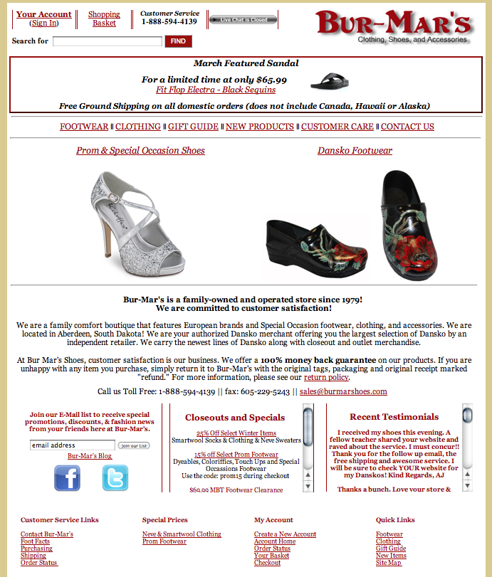 Small Business – Shoe Store: eCommerce