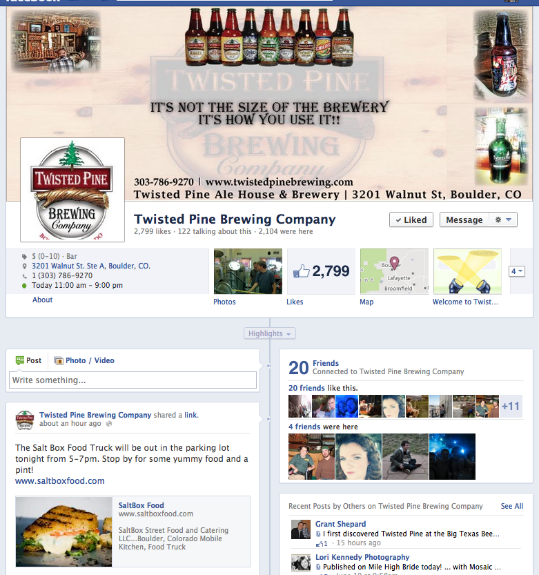 Twisted Pine Brewing – Social Media Optimization