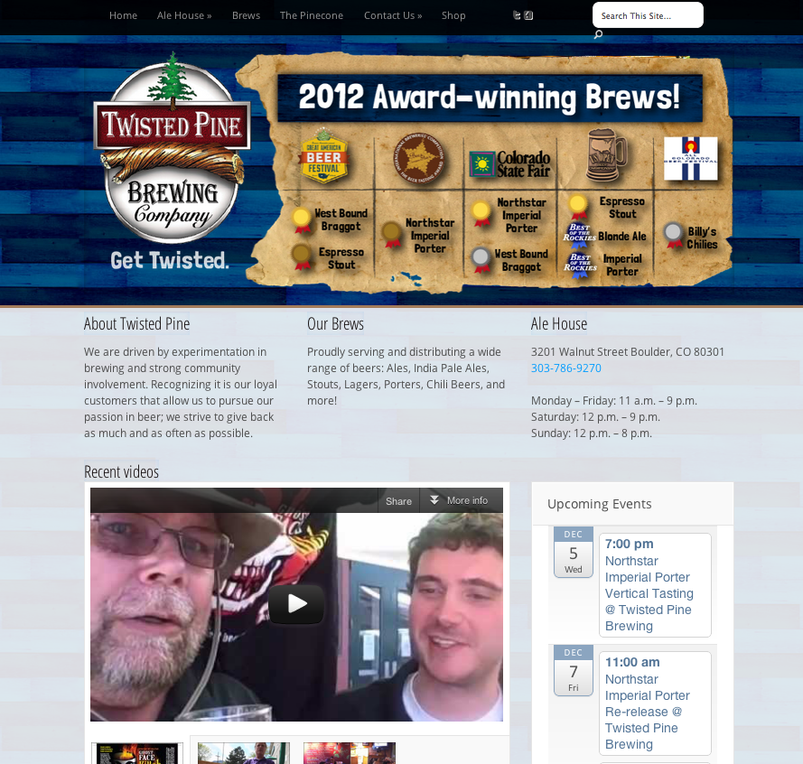 Twisted Pine Brewing - Small Business Website Design