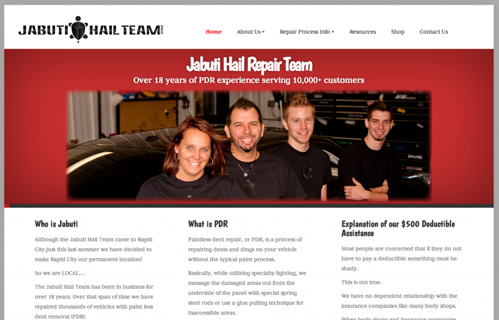 Jabuti Hail Team Website Design and Development